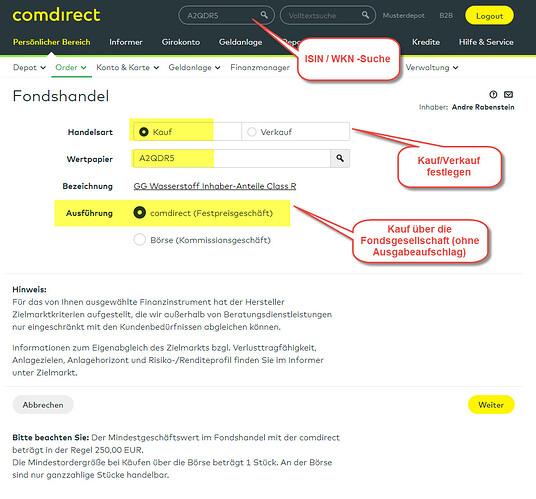 Fondsorder comdirect